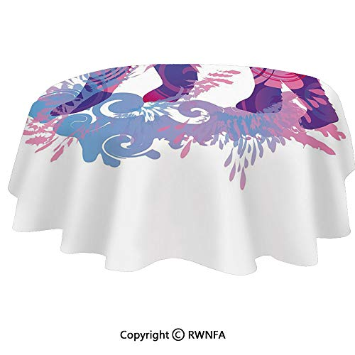 (Spillproof Tablecloths for Oval Tables 64x102 Inch Abstract Silhouette with Artistic Swirls Color Splashes Fantasy Display Indoor Outdoor Camping Picnic Table Cloth Pale Pink Blue Purple)