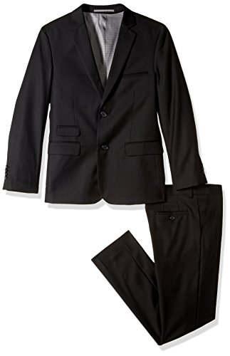 Isaac Mizrahi Boys' Big' Solid 2pc Slim Fit Wool Suit, Black, 18]()