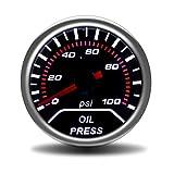 "ZJP-Car Instruments Coche 2""52 mm Indicador de presión de Aceite 0-7bar con Sensor Lente de Humo Indicador de presión de Aceite Medidor de automóvil Dispositivo Sensor"