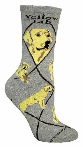 Yellow Lab on Gray Ultra Lightweight Cotton Crew Socks Shoe size 6-8.5/Sock size (Labrador Retriever Socks)