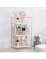 Desktop Cosmetics Storage Rack Rose Gold 2/3 Layers Bathroom Makeup Organizer Assembled Kitchen Seasoning Iron Storage Shelves