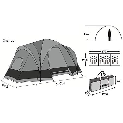 Semoo Double Layer ,3-4 Person, 3-Season Lightweight Camping/Traveling Tent with Carry Bag
