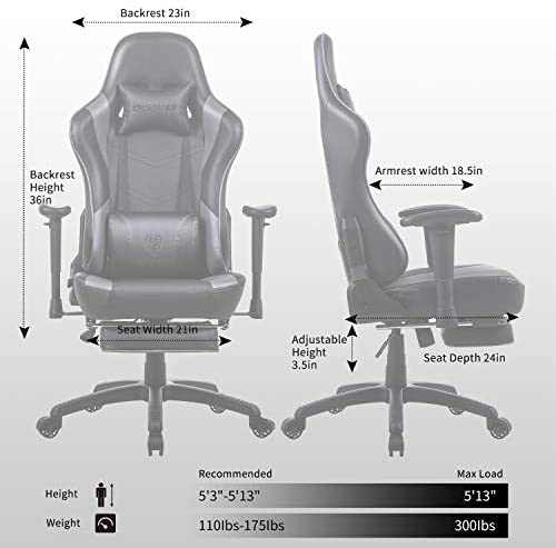 Dowinx Gaming Chair Ergonomic Office Recliner for Computer with Massage Lumbar Support, Racing Style Armchair PU Leather E-Sports Gamer Chairs with Retractable Footrest Grey 41tRhQotbBL
