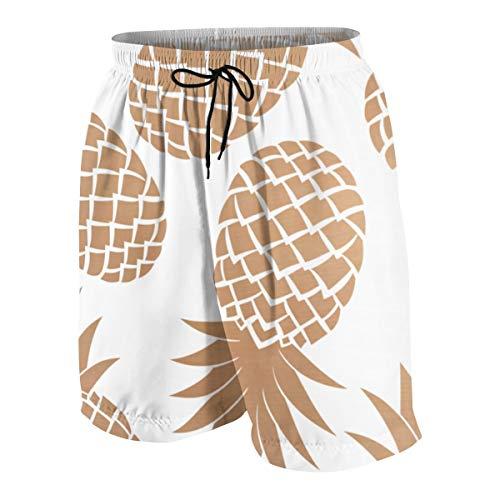 (SYSOIO Regal Gold Pineapple Pattern Beach Pants Boys Boardshorts Kids)