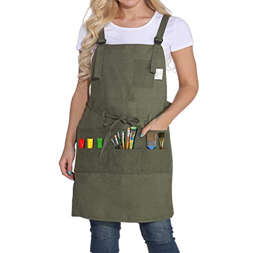 Professional Artist Apron, Smocks for Women and Men, Canvas Apron with 10 Pockets, Adjustable Painting Apron, Cross Back Bib Apron for Painter, Gardening, Crafts, Ceramics, Art Supplies for Adults