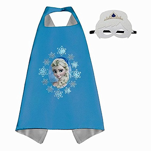 ERT13 Dress Up Cartoon Princess Costume with Satin Cape and Matching Felt Mask (Boys Frozen Costume)