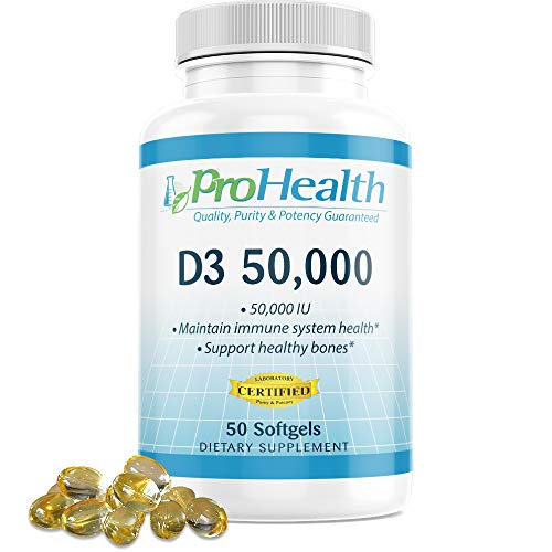 ProHealth Vitamin D3 50,000 (50,000 IU, 50 softgels) Helps Boost and Support Healthy Bones and The Immune System | Gluten Free