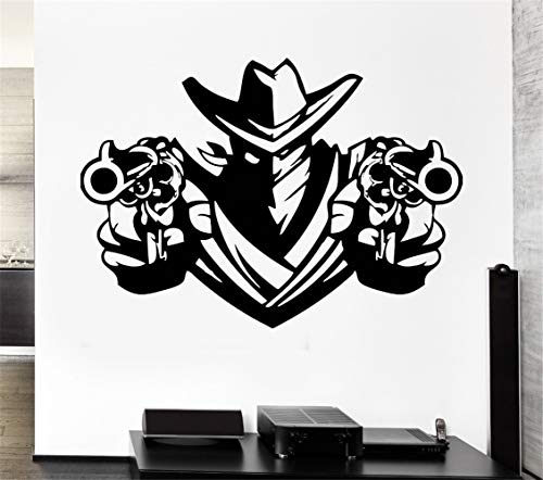 - Uyeai Quotes Vinyl Wall Art Decals Saying Words Removable Lettering Cowboy Bandit Revolver Pistols Weapons Shawl Decal Home Decor Art