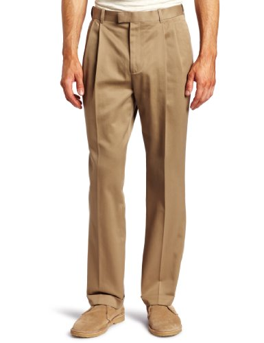 Fit Double Pleat Pant (Perry Ellis Men's Premium Twill No Iron Double Pleat Modern Fit Pant, Fawn, 33x30)