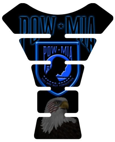 Motorcycle sportbike POW MIA light blue 3d gel Tank Pad tankpad protector