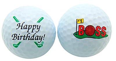 Happy Birthday #1 Boss Golf Balls Gift Boxed Two Ball Set