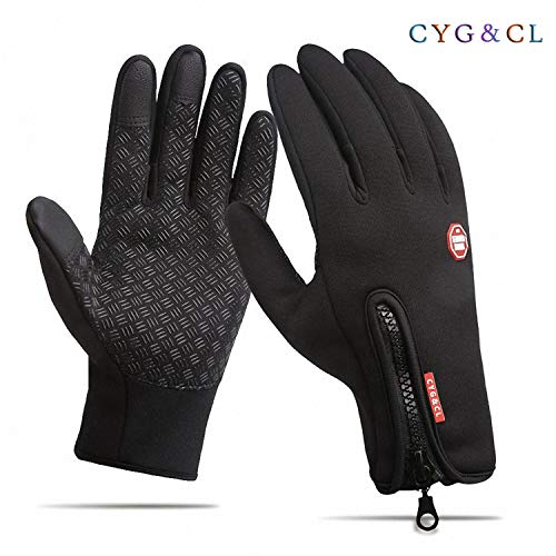 CYG&CL Outdoor Winter Touchscreen Waterproof Warm Adjustable Size Gloves Running, Hiking, Clamming, Skiing, Cycling, Driving Men & Women (Medium, Black)