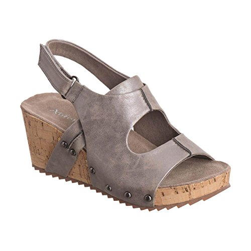 Open Center - Antelope Women's 548 Pewter Metallic Leather Open Center Met 37