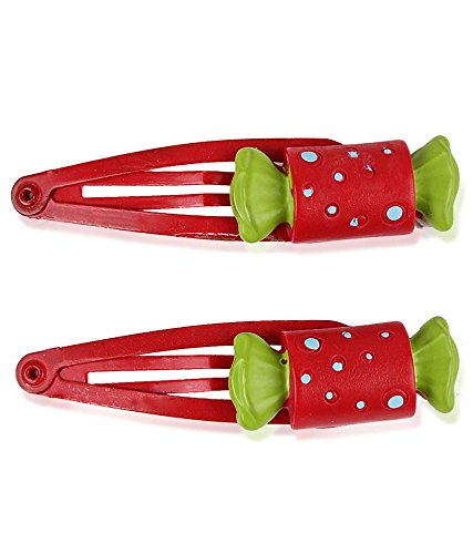 Trendy Baubles Red Toffee Click Clip (Set Of 2) For Girls Women's Hair Clips at amazon