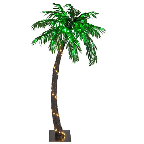 Kringle Traditions 10 Function LED Lighted Palm Tree - Pre-Lit Palm Tree Indoor/Outdoor - Remoted Controlled with Timer (5 (Pre Lit Led Color)