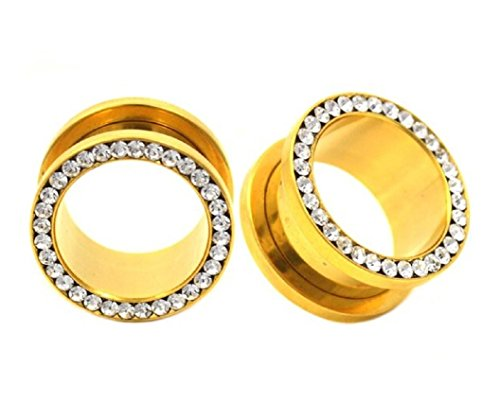 One Mm 11 Plug - 24k Gold Anodized with Clear Cz Stones Over 316l Surgical Steel Screw-on Gauges/plugs /Tunnelsnickle Free (1 Pair) Different Sizes Available (7/16