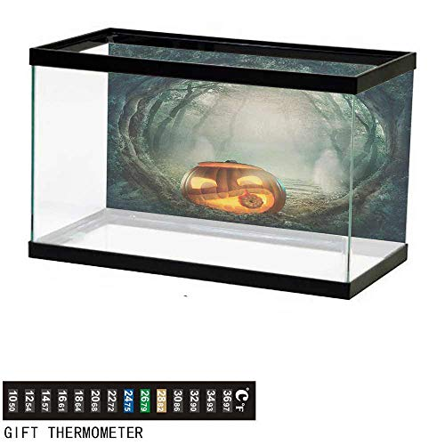 (wwwhsl Aquarium Background,Halloween,Drawing of Scary Halloween Pumpkin Enchanted Forest Mystic Twilight Party Art,Orange Teal Fish Tank Backdrop 30