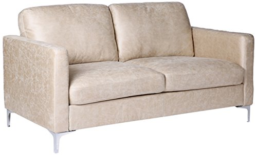 Homelegance Breaux Modern Track Arm Loveseat with Chrome Legs Accents, Sesame