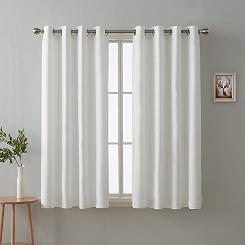 Deconovo Textured White Faux Linen Curtains for Dining Room Durable Grommet Top Drapes 52 x 84 Inch Length Set of - Inch Dining 84 Sets