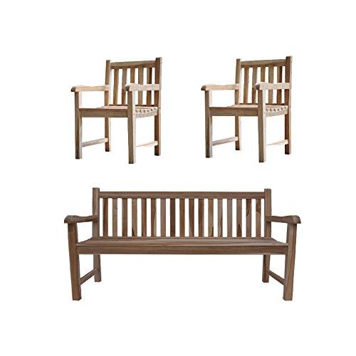 SAM® Sparset: 1 x Teak Holz Gartenbank Caracas, Sitzbank, 150 cm, 2 x Teak Gartensessel, Gartenstuhl [53257761]