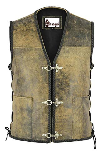 Distressed Brown Leather Vest - SleekHides Men's Fashion Real Leather Biker Distressed Vest Brown Medium