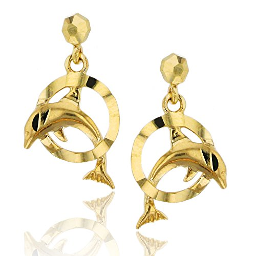 - 14K Yellow Gold Diamond Cut Dancing Dolphin Dangling Earring