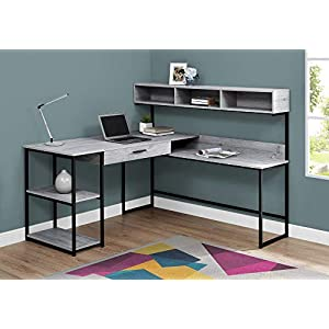 Monarch Specialties Workstation for Home & Office with Multiple Shelves and Drawer L-Shaped Corner Desk with Hutch, 60…