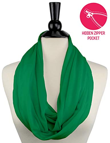 Solid Color Green Infinity Scarf Womens Fashion Scarf Zipper Pocket, Best Gifts for Women, Girls, Ladies, Friend