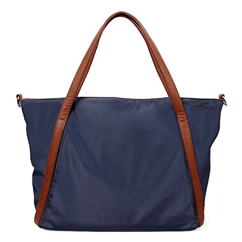 BMC Womens Navy Blue Waterproof Nylon Brown Faux Leather Accent Extra Large Shopper Tote Handbag (Large Textured Leather Tote)
