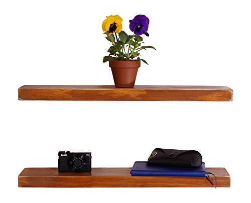 DAKODA LOVE Weathered Edge Floating Shelves, USA Handmade, Clear Coat Finish, 100% Countersunk Hidden Floating Shelf Brackets, Beautiful Grain Pine Wood Rustic Wall Decor (Set of 2) (24