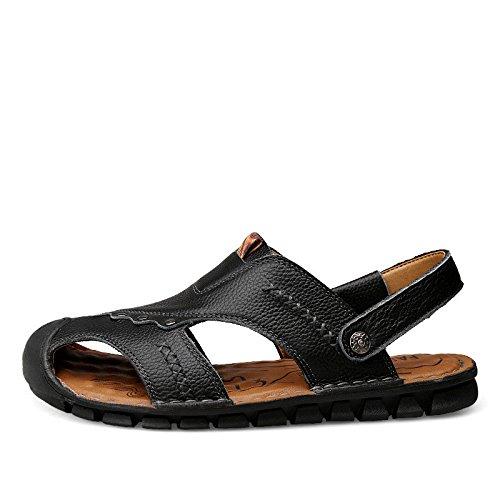 Sandali di estate nuovi modelli Uomini Cowhide Sole molle Leisurely Beach shoes Due sandali da indossare, Nero, UK = 6, EU = 39
