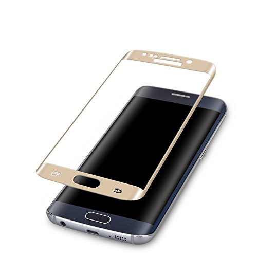 S6 Edge Screen Protector,ALCLAP Galaxy S6 Edge Military Tempered Glass Protective Shield Curved Full Coverage Premium HD Clear Film [Crystal Shield] Protector for Samsung Galaxy S6 Edge(Gold)