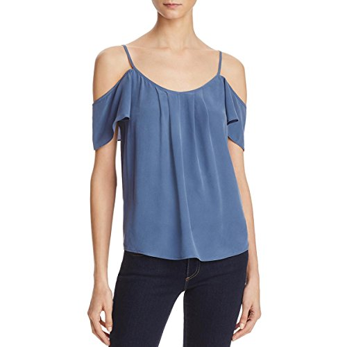 Joie Womens Adorlee Silk Cold Shoulder Casual Top Blue S by Joie