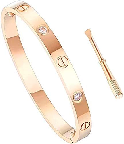 SHIRIA Unisex Love Bracelet Bracelet Stainless Steel Bracelet Couple Bracelet Gift & Screwdriver Bracelet Valentine's Day Wedding (Rose Gold with Diamond, 17cm) ()