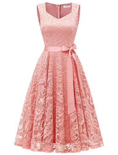 Gardenwed Women's Vintage Floral Lace Cocktail Evening Party Dress Elegant V-Neck Bridesmaid Dress Blush S