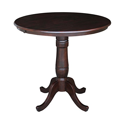 International Concepts 36-Inch Round by 36-Inch High Top Ped Table, Rich Mocha
