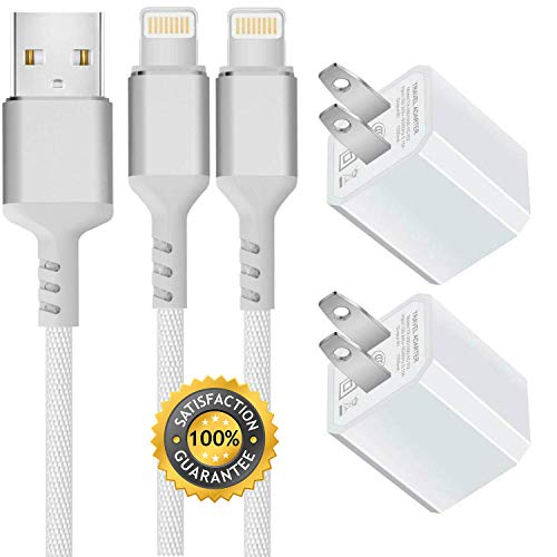 Boost Chargers 5W USB Power Adapter Wall Charger 1A Cube for Plug Outlet w/ 6FT/3FT Nylon Braided Sync & Charger Cord Compatible for iPhone 8 / X / 7 / 6S / Plus + More (Silver) 2 Pack