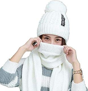1625880a9bab LHWY 2PCS Ensemble Echarpe Bonnet Femme,Bonnet Femmes Hiver Chaud Pompons  TricotéS Bonnets Et Echarpes