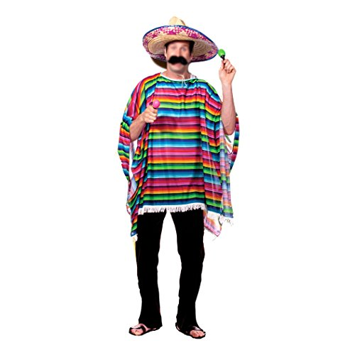 Mexican Serape Akaking's Culture Multicolor Party Costume For Adult (Mexican Ladies Costume)