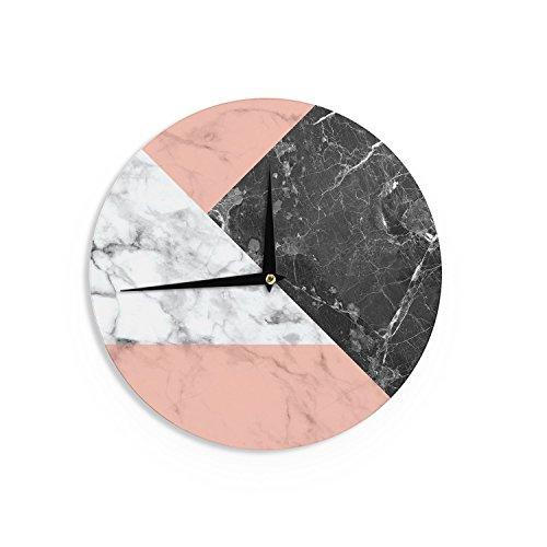 KESS InHouse Geo Marble & Coral & Black Art Deco Wall Clock 12