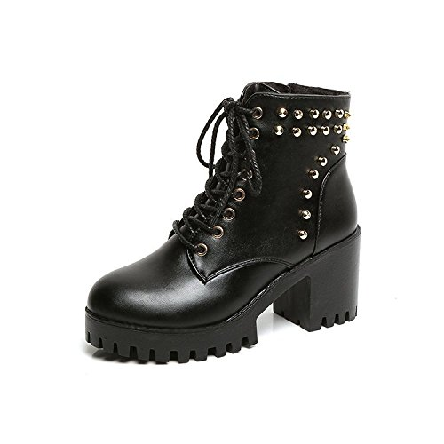 Boots Bottom Short Heel nine Heel Female Thirty Short Boots Boots Autumn Thick Winter British Female And Martin KPHY Cylinder Wind Lace xZwqvI1BB