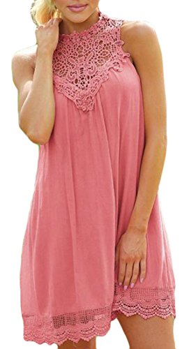 Summer A Sleeveless Loose Cromoncent Flare Pink Splice Womens Dress Color Midi Solid Fit line Lace rYvqTqw5n