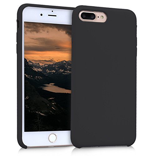 kwmobile TPU Silicone Case for Apple iPhone 7 Plus / 8 Plus - Soft Flexible Rubber Protective Cover - Black Matte