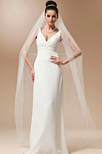 Aukmla 1 Tier Bridal Wedding Veil with Comb and Cut Edge, 106 Inches (Tulle Drop)