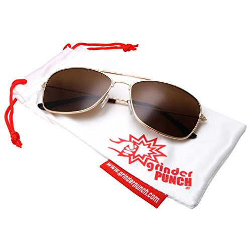 grinderPUNCH Square Aviator Sunglasses Regular Size - Gold Frame with Brown - For Good What Sunglasses Is A Protection Uv