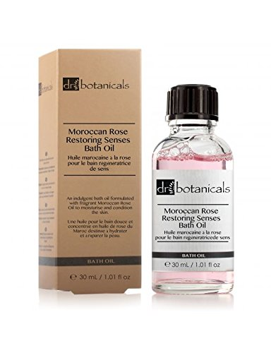 Dr Botanicals Vegan Moroccan Rose Bath Oil with Argan Oil and Jojoba Oil and Vitamins  - Natural Ingredients Clinically proved to Hydrate and Nourish the skin - Anti Ageing - Made in UK - 30ml