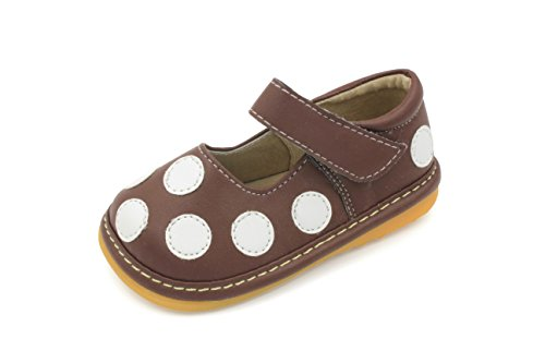 (Little Mae's Boutique Squeaky Shoes | Brown & White Polka-Dot Mary Jane Toddler Girl Shoes)