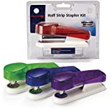 Officemate Half Strip Stapler Kit with 1000 Staples, Red/Blue/Green/Purple, Pack of 6 (97747)