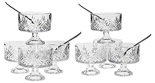 Le'raze Set of 8 Crystal Clear Glass 6 Ounce Dessert Ice Cream/Fruit Bowls, with 8 Taster Spoons, 16 -Piece Tasters Trifle Honey Tinis Dessert Bowl - Set Dessert Cup