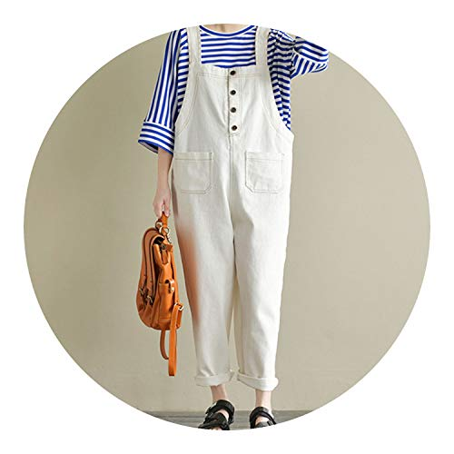 Casual Women Strappy Sleeveless Solid Loose CottonJumpsuits Overalls Vintage Cargo Dungarees,Off White,XL - Caress Satin Neck